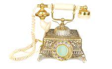 Free Retro Gold Phone. Royalty Free Stock Image - 13596556