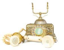 Free Retro Gold Phone. Royalty Free Stock Photos - 13596578