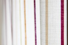 Free White Curtain With Yellow And Purple Stripe Royalty Free Stock Photography - 13596647