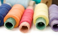 Free Multicolor Thread Reels On White Stock Images - 13597084