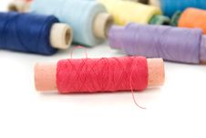 Free Multicolor Thread Reels On White Royalty Free Stock Photo - 13597085