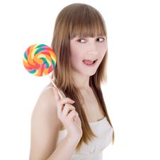 Free Bright Picture Of Happy Blonde With Color Lollipop Stock Photography - 13597252