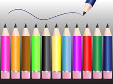 Free Set Of Pencils Royalty Free Stock Image - 13598396