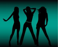 Free Girls  Silhouettes Royalty Free Stock Photography - 13598547