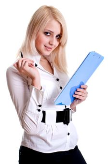 Business Woman In A Suit With Clipboard Royalty Free Stock Photos