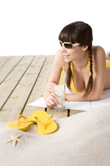 Free Beach - Woman With Cold Drink In Bikini Relaxing Royalty Free Stock Photography - 13599167