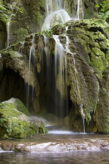 Waterfall With Mosses And Tears Royalty Free Stock Images