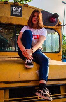 Free Woman Wearing White T-shirt Sitting On Bus Royalty Free Stock Photography - 135955627