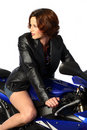 Free Brunette Girl On Motorcycle Leather Jacket Stock Photo - 1362010