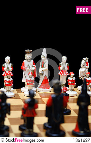 Ivory chess pieces Stock Photo