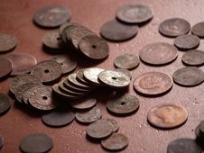 Old Spanish Coins Stock Photos
