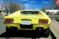 Free Yellow Panterra Sports Car Back Side Royalty Free Stock Image - 1360596