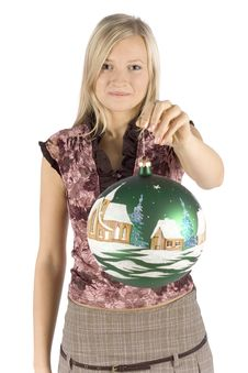 Free Young Blonde Woman With Christmas Ball Royalty Free Stock Image - 1360666