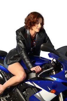 Free Brunette Girl On Motorcycle Leather Jacket Stock Photo - 1362150