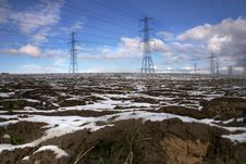 Pylons In Field Stock Photos