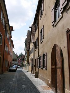 Alley In A Small Bavarian Town Stock Photo