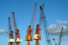 Free Cranes In Port Against Sky Royalty Free Stock Photography - 1363067
