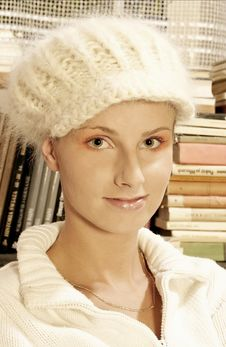 Woman In  A Woollen White Hat Stock Photography