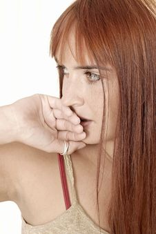 Free Woman Covering Her Lips Stock Image - 1365531
