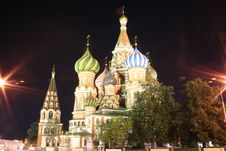 Free St.Basil Cathedral At Night 1 Royalty Free Stock Images - 1366139