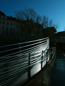 Free Graz - Riverside Railings Royalty Free Stock Photography - 1367117