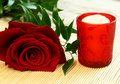 Free Red Rose And Red Candle Stock Images - 13601594