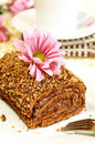 Free Chocolate Cake, Flower And Cup Of Tea Stock Photos - 13602323