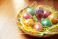Free Easter Painted Eggs In Traditional Basket Royalty Free Stock Image - 13607646