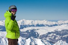 Free Man On Ski Resort Royalty Free Stock Photos - 13601208