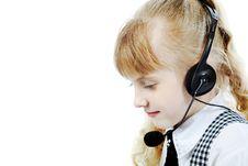 Girl In Headphone Royalty Free Stock Photos
