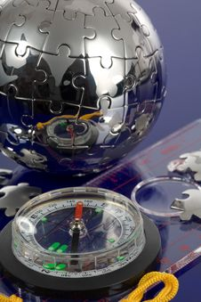 Globe Puzzle With Compass Royalty Free Stock Image