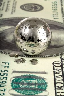 Free Dollar And Globe. Stock Images - 13601954