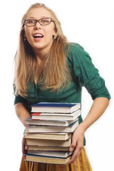 Free Beauty Young Student With Books Royalty Free Stock Photo - 13602195