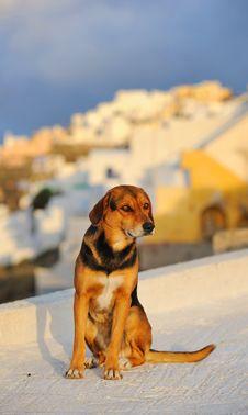 Greece. Santorini Island. Oia Village At A Sunset Stock Photos