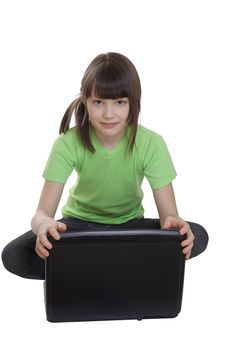 Free Little Girl With Laptop Stock Image - 13602751