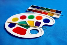 Paints Palette And Brush For Drawing Stock Photos
