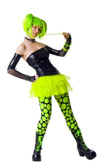 Cyber Goth Girl With Bright Green Hair Stock Images