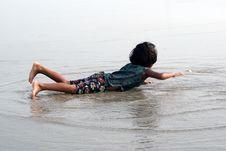 Free Happy Baby On Beach Stock Photography - 13603572