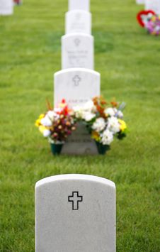 Free Headstones In Military Cemetery Royalty Free Stock Photography - 13604097