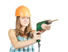 Young Woman With Drill Royalty Free Stock Photography