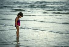 Free Toddler Girl Playing On A Beach Stock Photos - 13605773