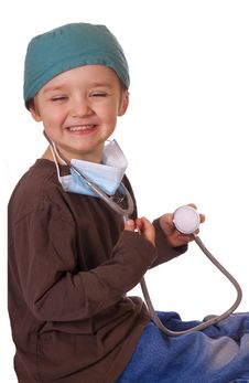 Free Child Playing Doctor Royalty Free Stock Photo - 13605985