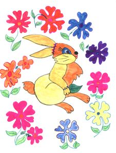 Free Rabbit And Flowers, Sketch Stock Image - 13605991