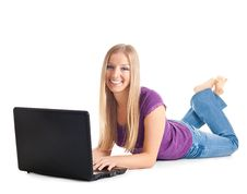 Free Woman On The Floor With Laptop Stock Images - 13606444
