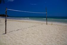 Free Volleyball Net On A White Beach Stock Photography - 13609092