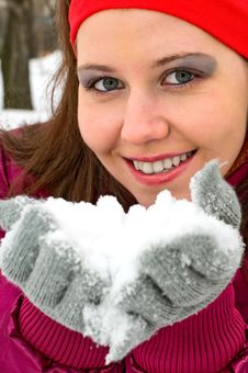 Free Girl With Snow Stock Photos - 13609153