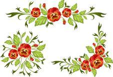 Pansy: Decorative Elements Stock Photo