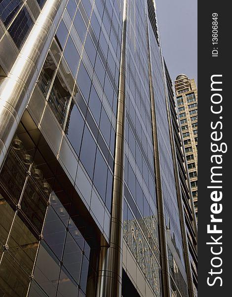 Corporate building, modern skyscraper office.