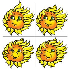 Free Vector Funny Sunflowers With A Smile Royalty Free Stock Images - 13610419