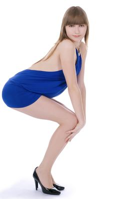 Free Lady In Blue Dress Standing Against Isol Royalty Free Stock Photos - 13610988
